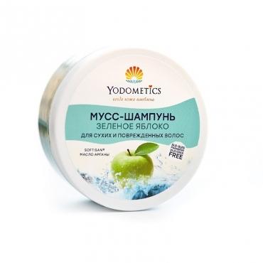 """Мусс-шампунь """"Зеленое яблоко"""" для сухих и поврежденных волос Yodometics, 250 мл"""