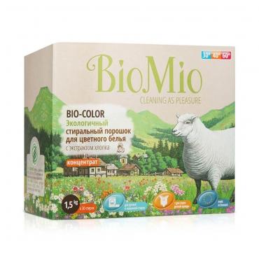 Экологичный стиральный порошок для цветного белья с экстрактом хлопка без запаха BioMio, 1500 гр