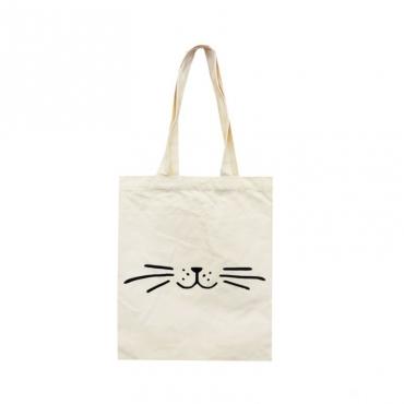 """Сумка-шоппер белая  """"Усы кота"""" 33х38 см"""