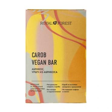 """Веганский  """"шоколад"""" из кэроба с абрикосом и урбечем из абрикоса Royal Forest, 50 гр"""