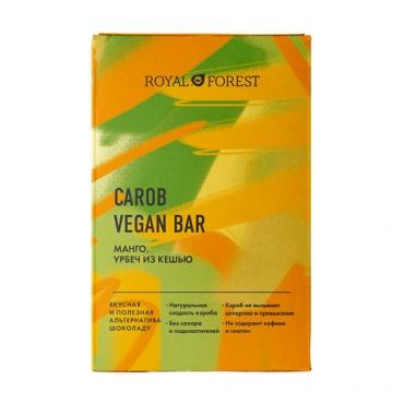 """Веганский """"шоколад"""" из кэроба с манго и урбечем из кешью Royal Forest, 50 гр"""