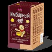 Чай имбирный черный с медом и лимоном Bio National, 20 фильтр пакетов