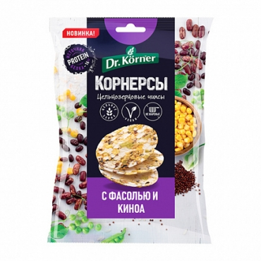 Чипсы цельнозерновые кукурузно-рисовые с фасолью и киноа Dr.Korner, 50 гр