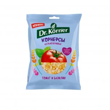 Чипсы цельнозерновые кукурузно-рисовые с томатом и базиликом Dr.Korner, 50 гр