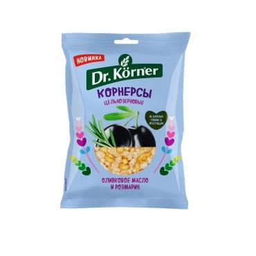 Чипсы цельнозерновые кукурузно-рисовые с оливковым маслом и розмарином Dr.Korner, 50 гр