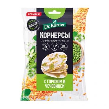 Чипсы цельнозерновые рисовые с горохом и чечевицей Dr.Korner, 50 гр