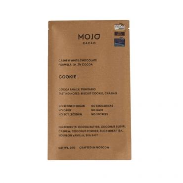 """Шоколад белый """"Cookie"""" с гречишным чаем со вкусом печенья Mojo Cacao, 20 гр"""