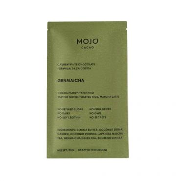 """Шоколад белый """"Genmaicha"""" с зеленым чаем и обжаренным рисом Mojo Cacao, 20 гр"""