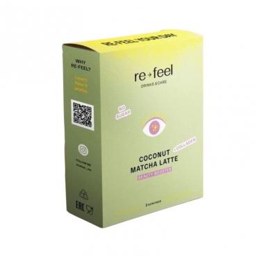Coconut Matcha Latte + Collagen (саше) Re-feel, 3 шт