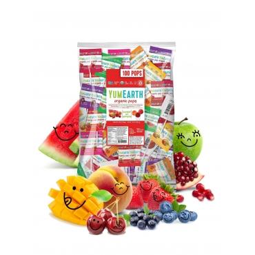 Леденцы органические Organic Fruit Popps на палочке YumEarth, 100 шт