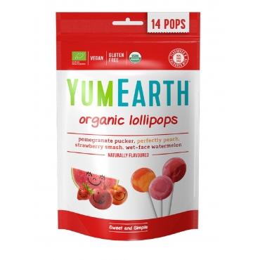 "Леденцы Organic Fruit Lollipops ""Клубника, арбуз, персик, гранат"" YumEarth, 14 шт"