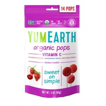 "Леденцы Organic Vitamin С Pops ""Клубника, малина, вишня"" YumEarth, 14 шт"