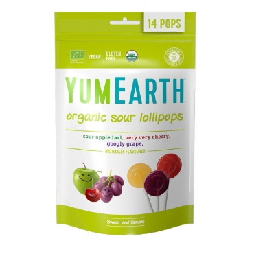 "Леденцы Organic Sour Lollipops ""Вишня, терпкое яблоко, виноград"" YumEarth, 14 шт"