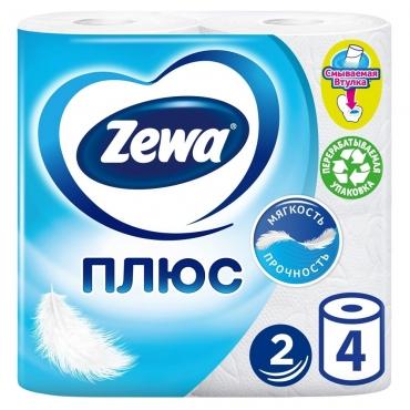 Бумага туалетная белая 2 слойная Zewa Плюс 1х4 рул