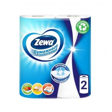 Полотенца кухонные белые 2 слойные Zewa 1х2рул