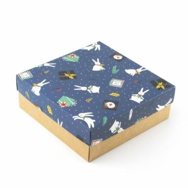 """Коробка для подарка """"Зайцы"""" 20х20х7"""