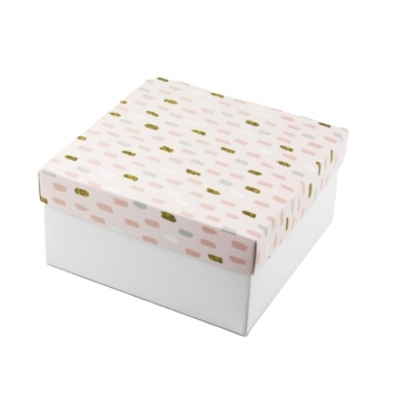 """Коробка для подарка """"Розовые полоски"""" 20х20х10"""