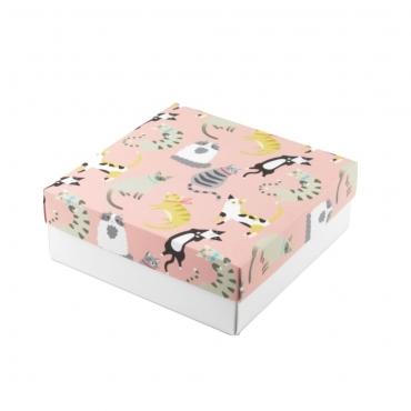 """Коробка для подарка """"Котики"""" 20х20х7"""