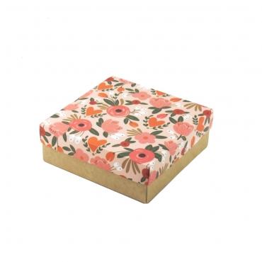 """Коробка для подарка """"Персиковые цветы"""" 20х20х7"""